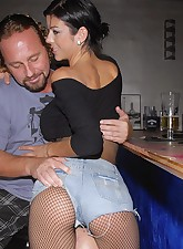 Check out this long long leg fishnet babe get drilled in her tight fucking box at her bar in these hot night club fucking pics