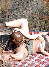 Tight body big bush babe gets her juicy pussy and asshole pounded hard on this camping trip in these hot box fucking pics