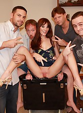 Mila Taking on Four Guys Cocks at Once for a Gang Bang