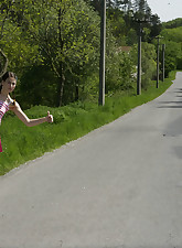Hitchhiking teen getting an..