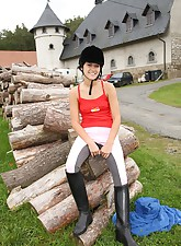 A cute horse riding teen..