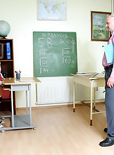Horny teacher enjoys..