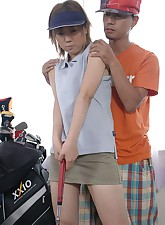 Golfing Japanese teenie gets..