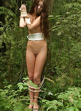 Provocative rope play in the woods with a teen