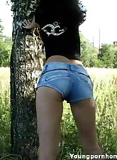 Young pussy playing it nasty in the woods