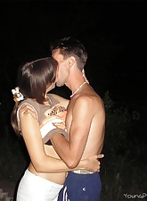 Horny lovers want to have a taste of each other outdoors and start fucking in the backyard