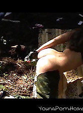 Incredibly hot teen chick playing with her hungry pussy really rough in the forest