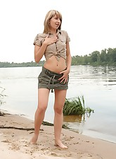 This girl isn't shy about showing her tight young body when going outdoors for a walk
