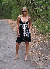 Come take a walk with this adorable blonde teen as she shows off her sexy body