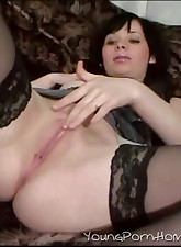 A young brunette chick plays with a vibrator until she gets a taste of a real hard cock